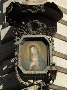 A Marian shrine with a metal frame