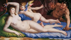Bronzino, Venus, Cupid and a Stayr