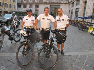 Cops on bikes -- a great idea in the historic center!