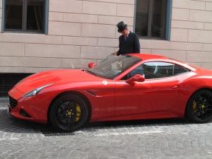A Ferrari parked at Hotel de Russie ...